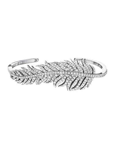 18k White Gold Pavé Diamond Feather Bangle