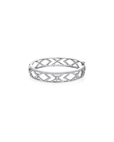 18k White Gold Diamond Deco Cutout Bangle