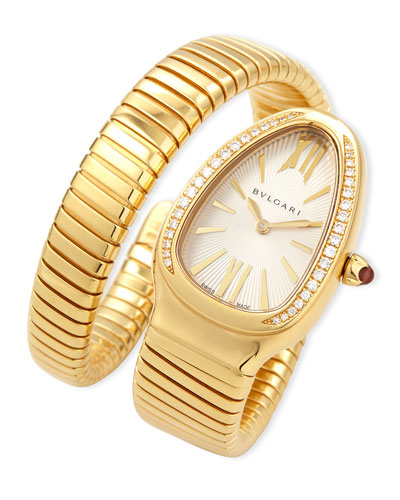 BVLGARI Serpenti Tubogas Yellow Gold & Diamond Single Twist Watch in Rose Gold
