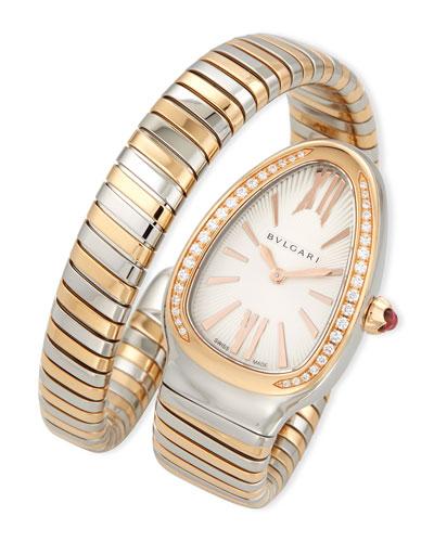 35mm Serpenti Tubogas Diamond Watch, Two-Tone/Cream