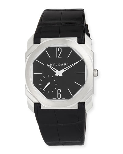 40mm BVLGARI Octo Platinum Alligator Strap Watch, Black