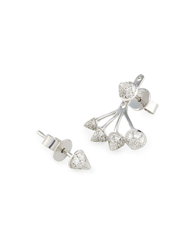 18K White Gold Diamond Spike Stud & Jacket Earrings