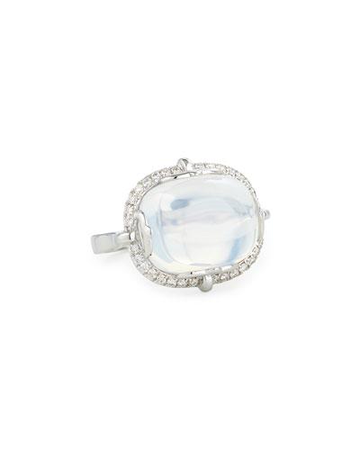 18K White Gold Moon Quartz & Diamond Ring