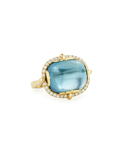 Rock-N-Roll 18K Yellow Gold London Blue Topaz Cabochon Ring