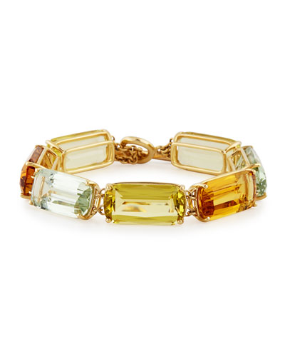 Gossip Cushion-Cut 18K Gold Bracelet