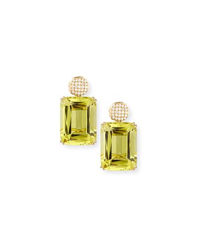 Gossip Pavé Diamond & Lemon Quartz Earrings