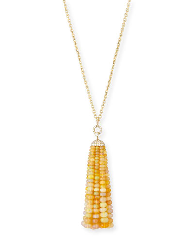 Beyond 18K Gold Opal & Diamond Tassel Necklace, 29