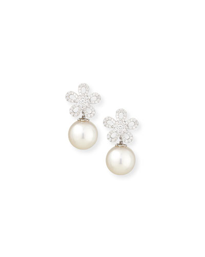 18K White Gold Diamond & South Sea Pearl Earrings