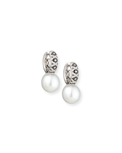 18K South Sea Pearl & Diamond Huggie Earrings
