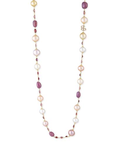 Kasumiga Pearl & Multi-Stone Station Necklace