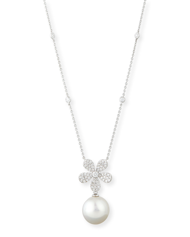 Diamond & Pearl Pendant Necklace
