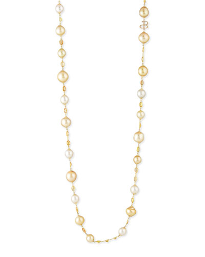 18K Gold White & Yellow South Sea Pearl Necklace
