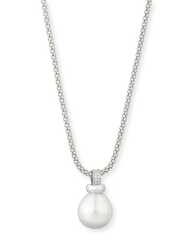 18K White Gold South Sea Pearl Pendant Necklace