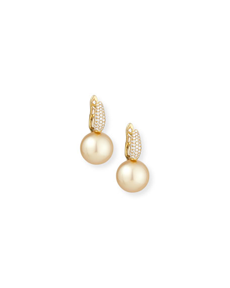 Belpearl Diamond & Golden Pearl Drop Earrings