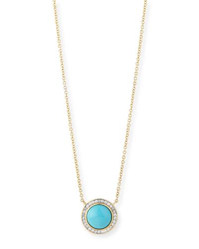 Maya 18K Diamond-Trimmed Turquoise Pendant Necklace