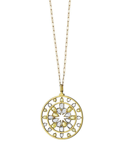 18K Gold Yellow Sapphire & Rock Crystal Kaleidoscope Pendant Necklace