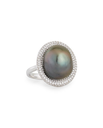 18K White Gold Tahitian Pearl Ring w/Diamonds