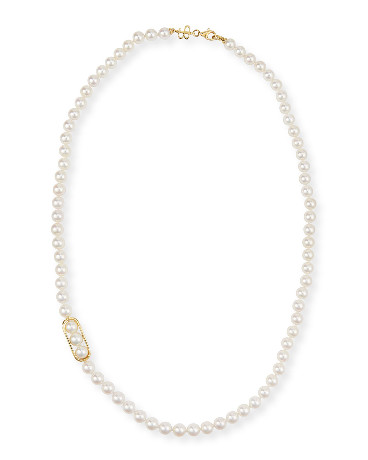 18K Gold Akoya Pearl Necklace, 24