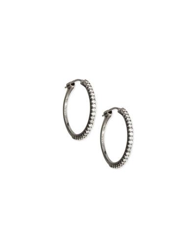 Black Rhodium Diamond Hoop Earrings