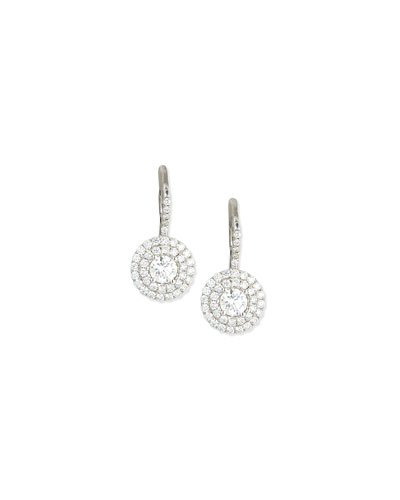 18K White Gold Double-Halo Diamond Earrings
