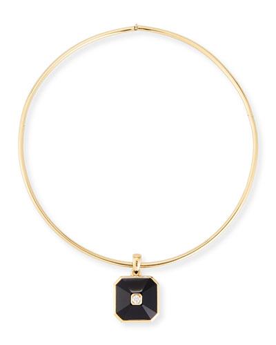 18K Gold Pyramid Onyx & Diamond Pendant Collar Necklace
