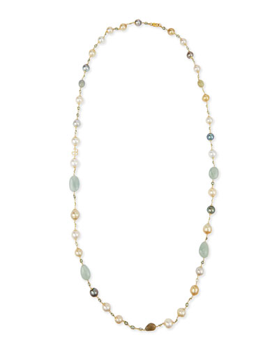 18K Gold Mixed Pearl, Green Sapphire & Aquamarine Necklace, 42