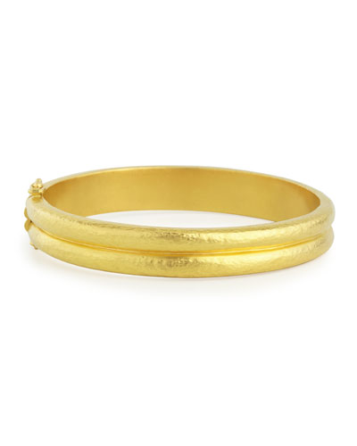 Elizabeth Locke Amulet 19k Gold Hinge Bangle YuHA59