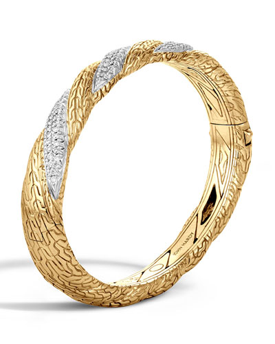 Medium Classic Chain Diamond-Wrap Bangle