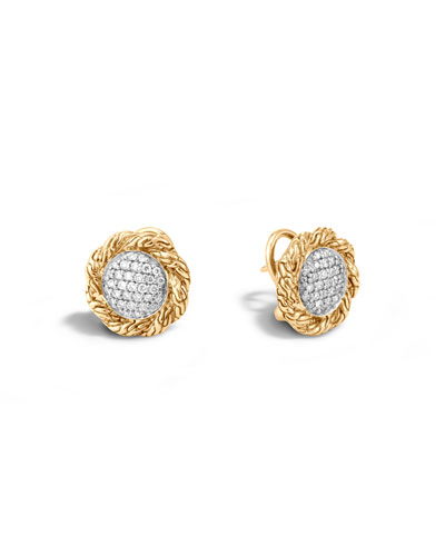 Medium Classic Chain Diamond Stud Earrings