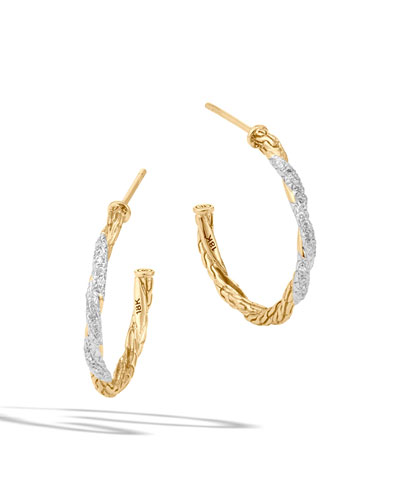 Small Classic Chain Diamond Hoop Earrings
