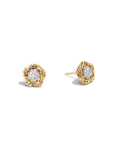 Small Classic Chain Diamond Stud Earrings