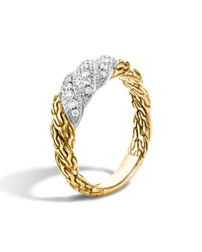 Small Classic Chain Twisted Diamond Ring, Size 6