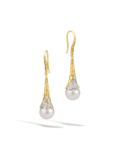 Dot 18K Gold Diamond & Pearl Drop Earrings