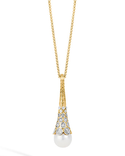 Dot 18K Gold Diamond & Pearl Pendant Necklace