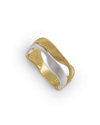 18K & Sterling Silver Strand Ring, Size 6