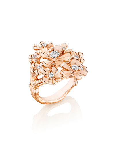 Wonderland 18K Rose Gold Diamond Orchid Ring, Size 6