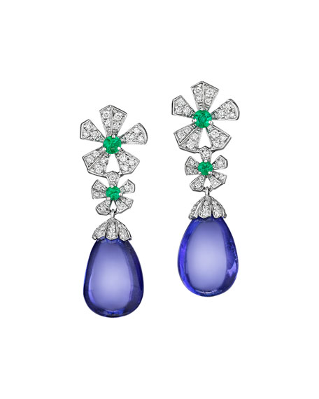 Mimi So Wonderland Tanzanite Flower Drop Earrings