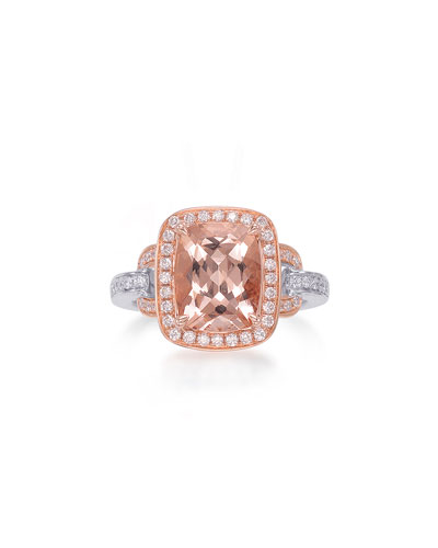 Roma 18K Rose Gold Faceted Morganite & Diamond Ring, Size 6.5