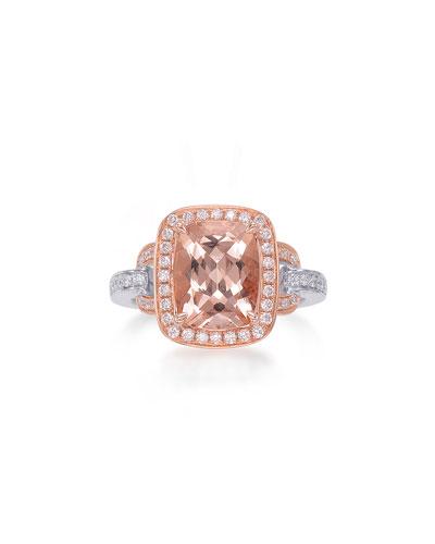 Roma 18K Rose Gold Faceted Morganite & Diamond Ring, Size 6.5