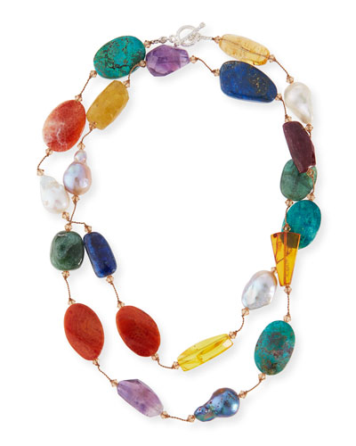 Multi-Stone & Pearl Hand-Knotted Necklace, 35