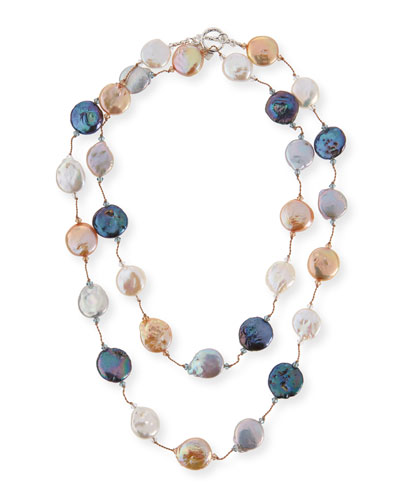 Multicolor Coin Pearl Necklace, 35