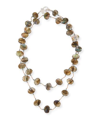 Faceted Flat Labradorite Necklace, 35
