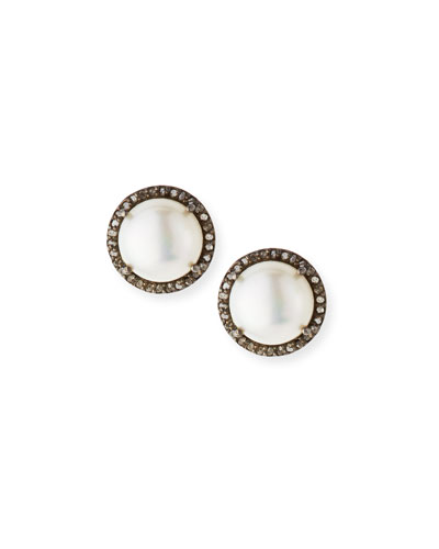 Pavé Diamond & Pearl Button Earrings