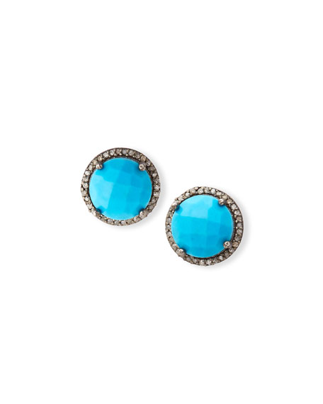 Margo Morrison Faceted Turquoise & Diamond Earrings