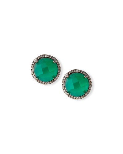 Faceted Green Onyx & Diamond Earrings