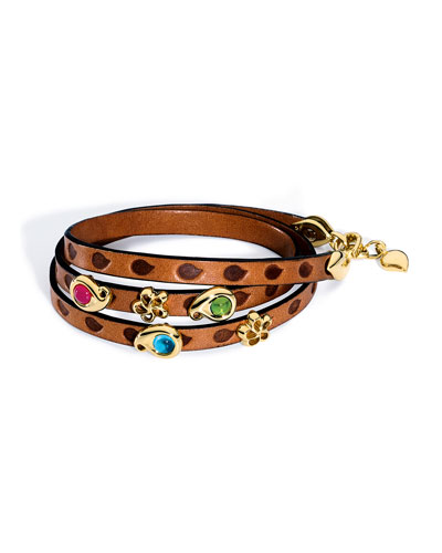 Loopy Mixed Cabochon Leather Wrap Bracelet