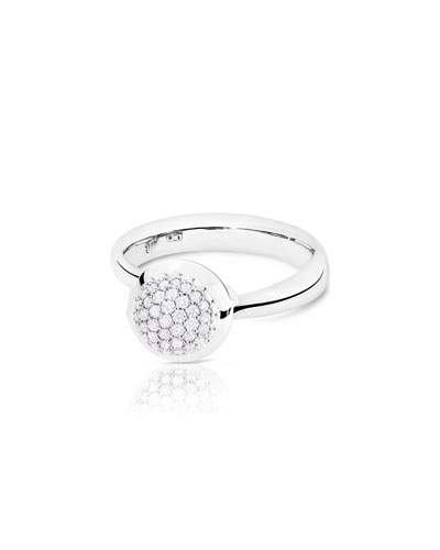 Bouton 18K White Gold Pavé Diamond Ring, Size 7/54