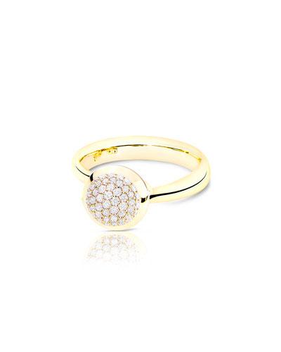 Bouton 18K Yellow Gold Pavé Diamond Ring, Size 7/54