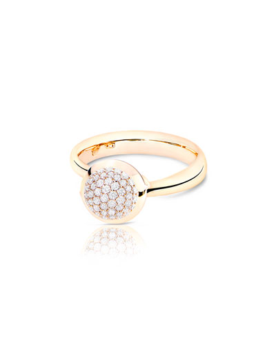 Bouton 18K Rose Gold Pavé Diamond Ring, Size 7/54