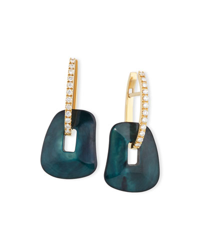 Puzzle Diamond-Trimmed 18K Yellow Hoop Earrings, Green/Black/White